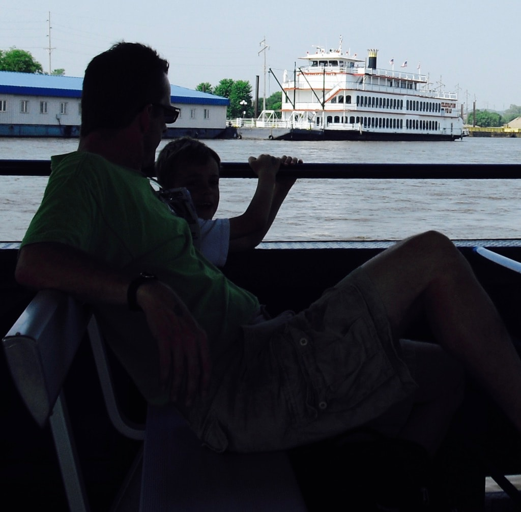 View of Celebration Belle Riverboat at dock Moline IL