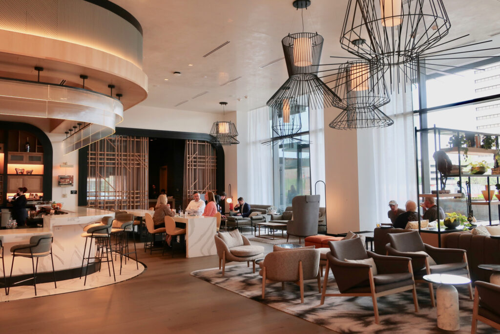 Lobby with bar at the Farnam Hotel Omaha