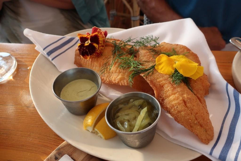 Shaved Flounder dish at Anker Restaurant Greenport NY
