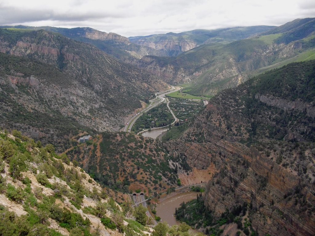 Aerial view of Glenwood Canyon and I-70 US Route 6 CO