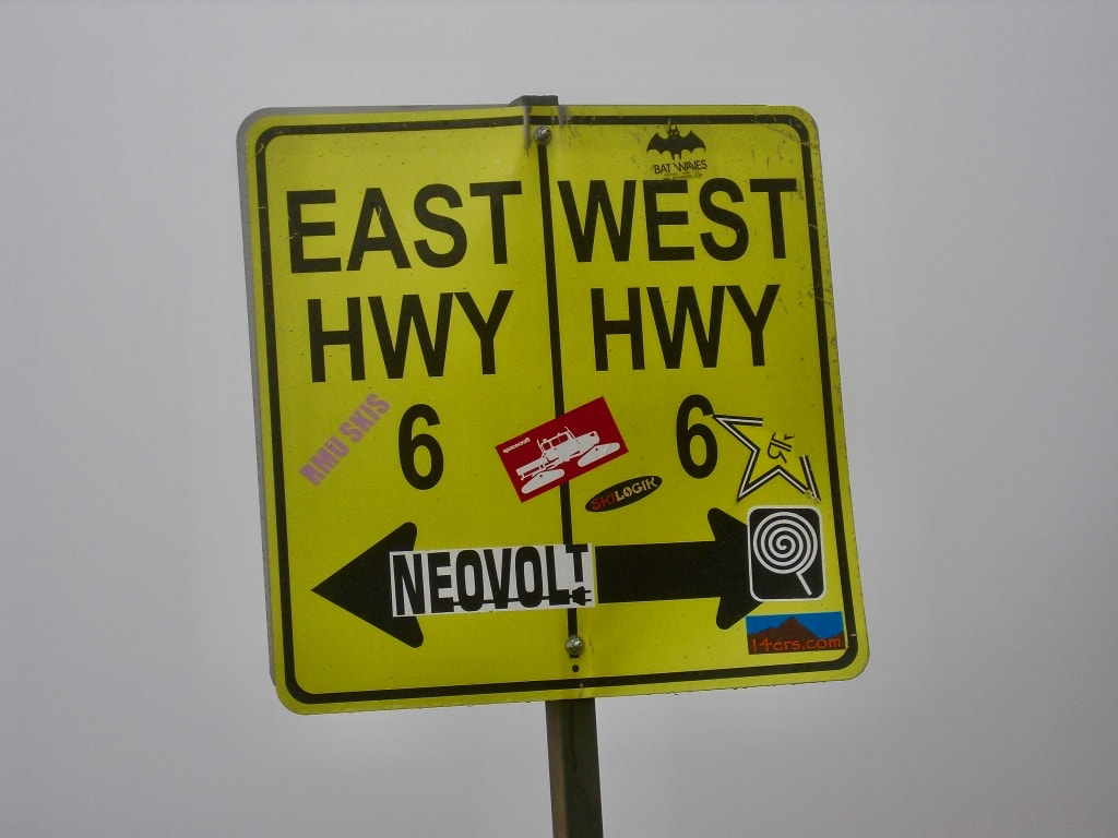 Hwy 6 sign on Loveland Pass CO