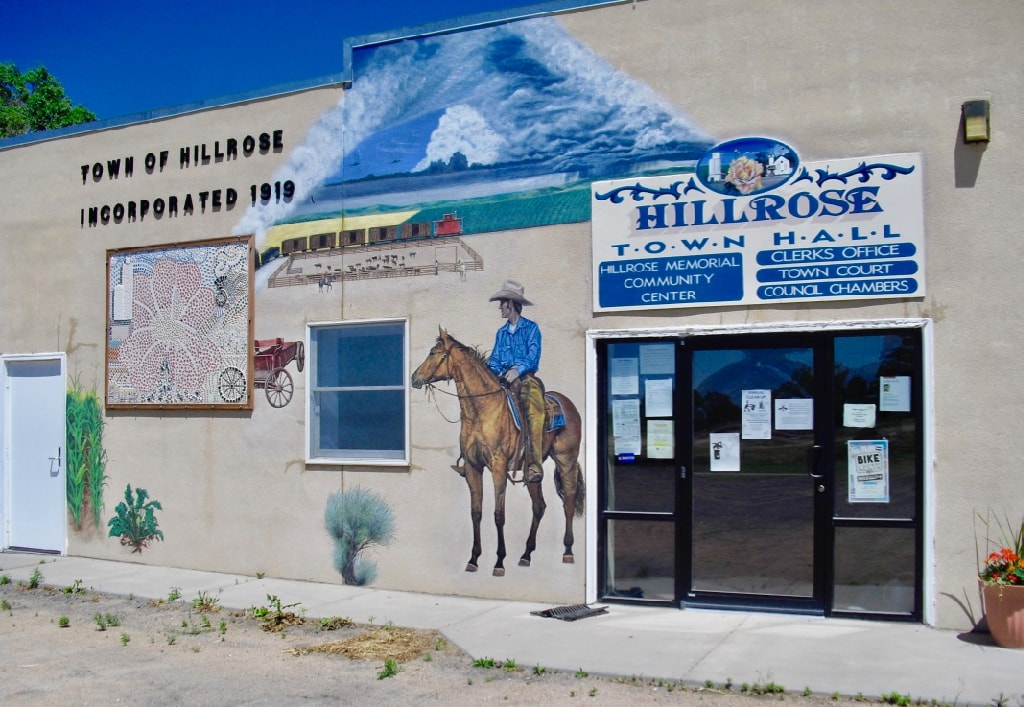 Hillrose Colorado Town Hall with cowboy mural