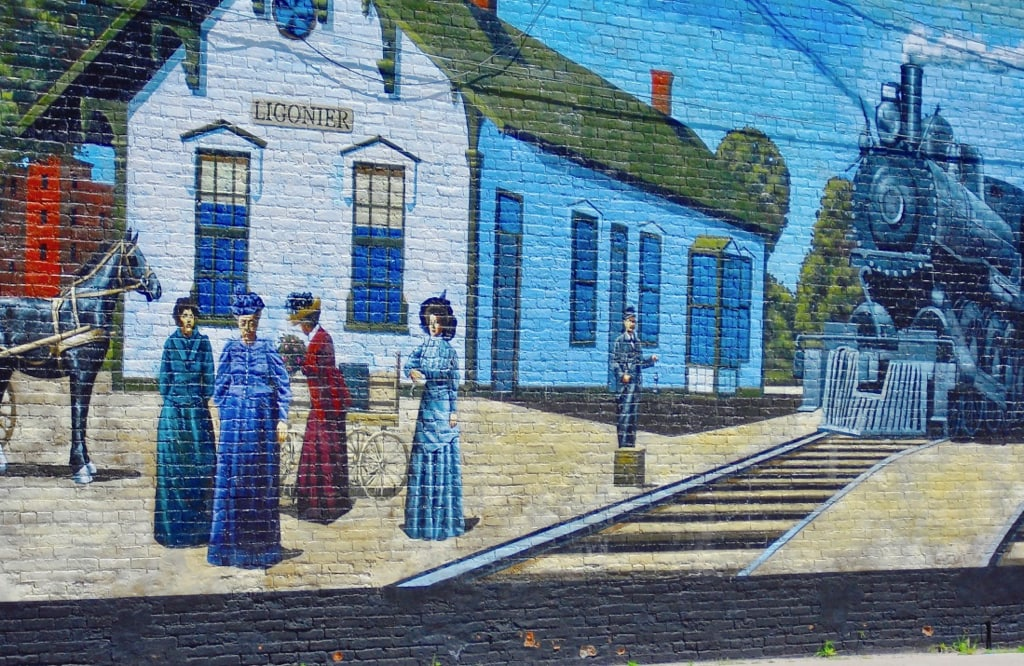 Ligonier mural on Indiana Route 6