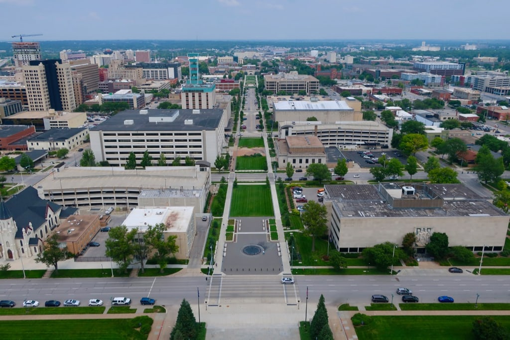 View from the top of Nebraska State Capitol tower in Lincoln