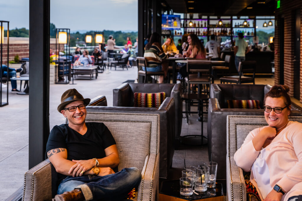Cocktails at Lumac Rooftop Bar in Bristol VA