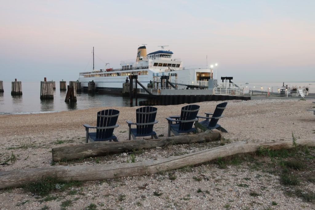 Car ferry arrives at Orient Point NY