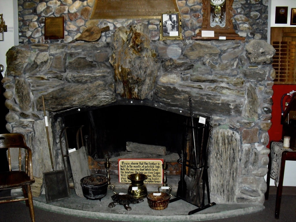 Petrified wood fireplace at Overland Trail Museum Sterling CO