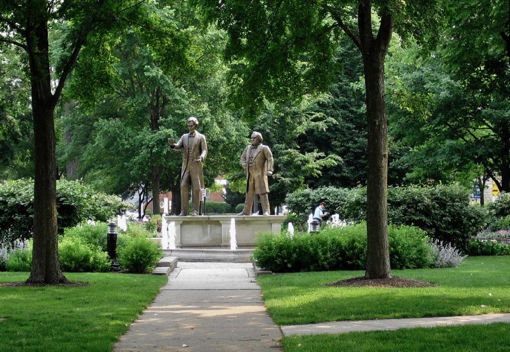 Site of first Lincoln-Douglas debate Washington Square in Ottawa IL