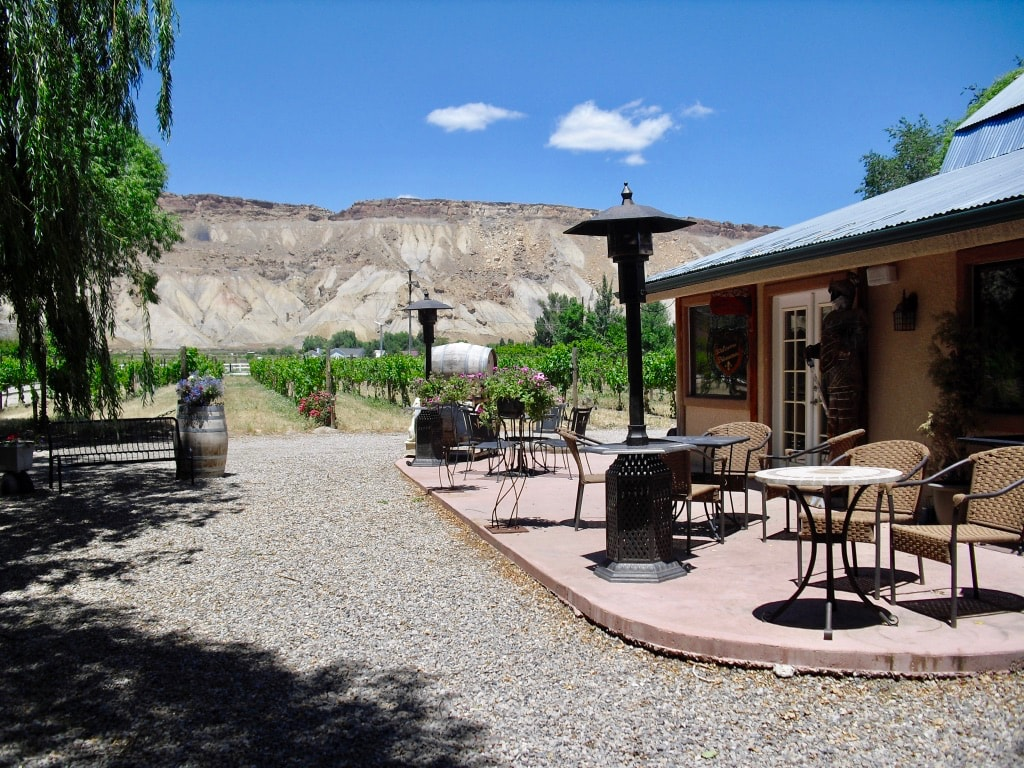 Winery tasting room with Bookcliffs in background