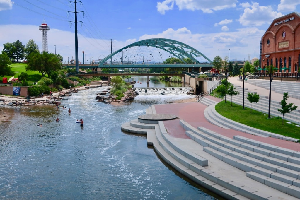 Confluence Park kayaking and swimming Denver CO