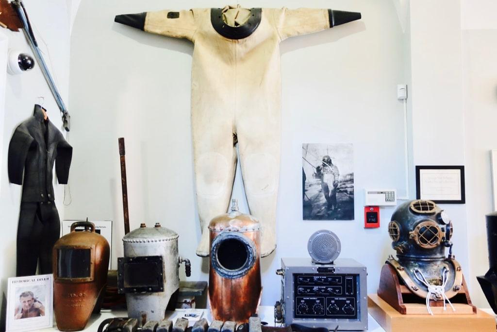 Antique diving helmets New London Customs House Museum