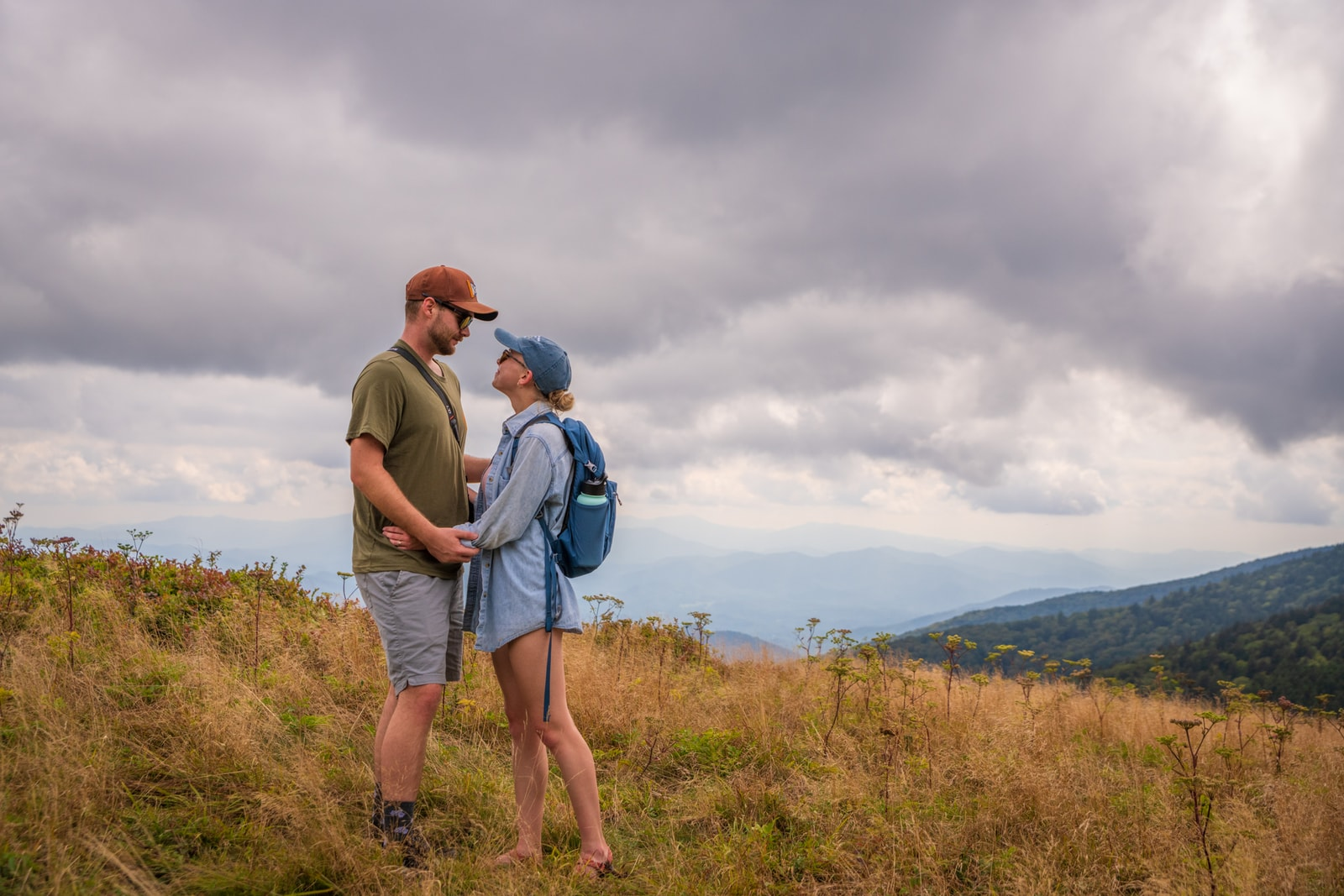 Couple embraces on Carvers Gap trail